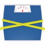 Scales with a measuring tape Royalty Free Stock Image