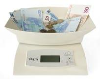 Scales med pengar Arkivfoto