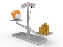 Scales with money and the earth Royalty Free Stock Photos