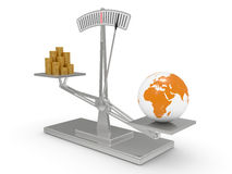 Scales with money and the earth Royalty Free Stock Image