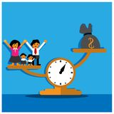 Scales between money and family. Vector Illustration. stock illustration