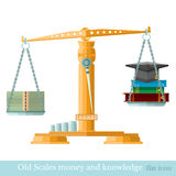 Scales with money hat graduate book on different scale Royalty Free Stock Images