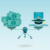 Scales with money hat graduate book. Knowledge is wealth concept. Investment in science, education vector illustration