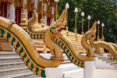 Scales of Naga statue on the front entrance Buddha's relics Stock Images
