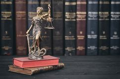 Free Scales Of Justice, Justitia, Lady Justice And Law Books Royalty Free Stock Images - 121398659