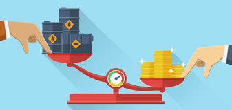 Scales with oil barrels and gold coins, flat design. Stock Photography