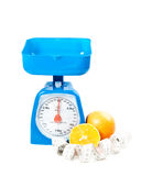 Scales, oranges and measure tape Stock Image
