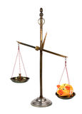 Scales with piggybank Royalty Free Stock Photography