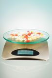 Scales with pills Royalty Free Stock Images