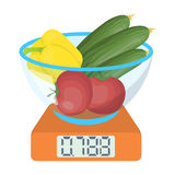 Scales, single icon in cartoon style.Scales, vector symbol stock illustration web. Stock Image