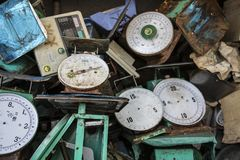 Wasted scales. Scales throw to the trash in the fish market Royalty Free Stock Photography