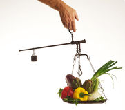 Scales with vegetables Stock Photo