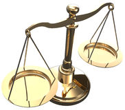 Scales weigh justice choice balance. Scales as symbol of law justice court fairness choice 3D render with clipping path Royalty Free Stock Photos