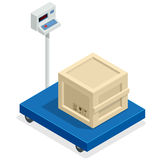 Scales for weighing heavy objects and goods. Box and cargo, package and freight, parcel and product, load packaging Stock Image