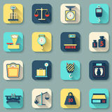 Scales Weight Icons Flat. Flat decorative icons set of weight scales tools instruments isolated vector illustration Royalty Free Stock Photo