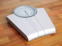 Scales on the wooden floor. Weight control. Stock Photography