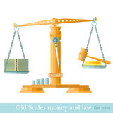 Scaleswith money and gavel Stock Photo