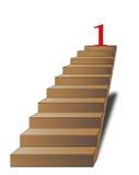 Scaletta con il numero uno sulla parte superiore Fotografia Stock