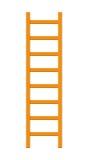 Scaletta di legno isolata su bianco Fotografia Stock