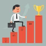 Scaletta rampicante dell'uomo d'affari a successo motivazione Fotografia Stock