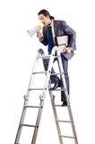 Scaletta rampicante di carriera dell'uomo d'affari Fotografia Stock