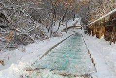 Scalette e tracce coperte di neve Fotografia Stock Libera da Diritti