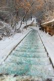 Scalette e tracce coperte di neve Fotografie Stock Libere da Diritti