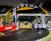 Slot cars. Scalextric slot car on race track Stock Photos