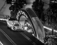 Slot cars. Scalextric slot car on race track Stock Photo