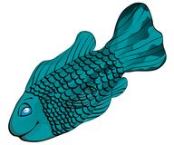 Scaley Tropical Fish. A cartoon fish full of scales and in a happy mood. Very easy to change color, even for different colors on different fins and body stock illustration