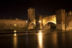Scaliger bridge and Adige river in Verona, Italy Royalty Free Stock Images