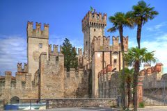 Scaliger Castle in Sirmione at the Lake Garda in Italy. In historically and playful architecture Royalty Free Stock Photography