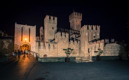 Scaliger Castle in Sirmione on Lake at Night, Garda, Lombardy, I Stock Photography