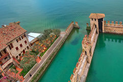 Scaliger castle surrounding wall on Lake Garda. Stock Images