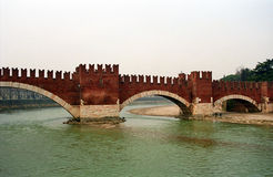 Scaligero Bridge over River Adige, Verona, Italy Stock Photos