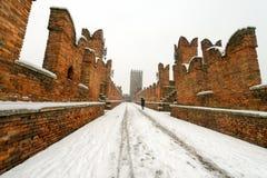 Scaligero Bridge in Winter - Verona Italy Royalty Free Stock Image