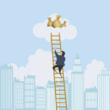 Scaling Ladder to the Money. Vector illustration of a man scaling a ladder to a cloud with money bags Stock Images