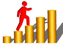 Scaling New Financial Heights ( on White Background) Royalty Free Stock Photo