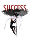 Scaling to success. Between lightning and black clouds Royalty Free Stock Photography