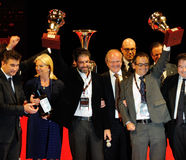 Scalise y Claramunt muestran los premios Miglia 1000 Foto de archivo
