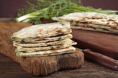 Scallion pancakes stock photography