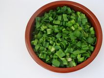 Scallions. Cut up scallions in a brown bowl Stock Images