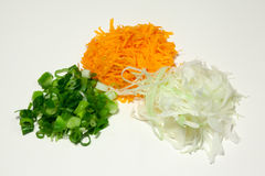 Scallons , carrot , cabbage. For spring rolls have spring onions , carrot , cabbage needed Royalty Free Stock Image
