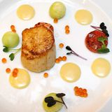 Scallop with assorted sauces Royalty Free Stock Image