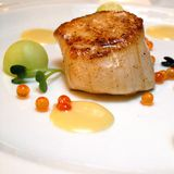 Scallop with assorted sauces Royalty Free Stock Photography