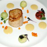 Scallop with assorted sauces Stock Photo