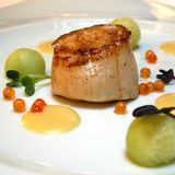 Scallop with assorted sauces royalty free stock images