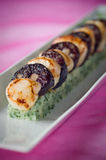 Scallop, black pudding against pink Stock Images
