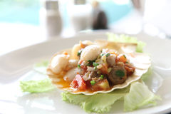 Scallop with butter seafood appetizer Royalty Free Stock Photos