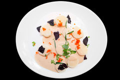Scallop carpaccio with flying fish roe,  Stock Image
